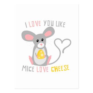 Cartão Postal Eu te amo como o queijo do amor dos ratos
