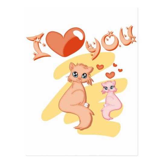 Cartão Postal Eu te amo gatos - I love you cats