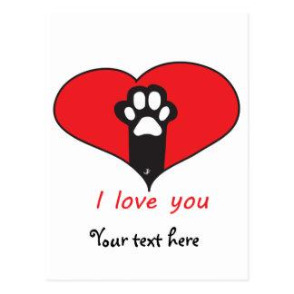 """Cartão Postal """"Eu te amo"""" pegada do gato"""