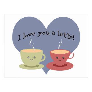 Cartão Postal Eu te amo um latte!