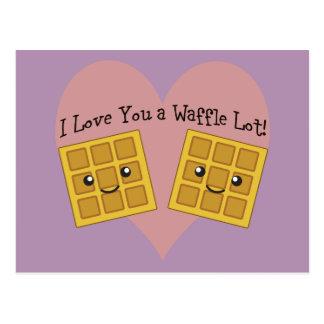 Cartão Postal Eu te amo um lote do Waffle!