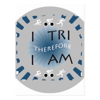Cartão Postal Eu tri conseqüentemente mim sou Triathlon