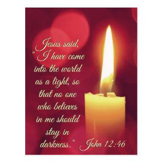 Cartão Postal Eu vim como uma luz, verso da bíblia do 12:46 de