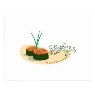 Cartão Postal Eu vivo para o sushi
