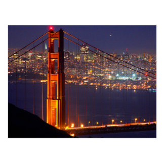 Cartão Postal EUA, Califórnia. Golden gate bridge na noite
