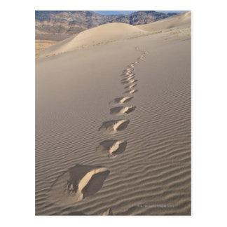 Cartão Postal EUA, Califórnia, pegadas da duna do deserto