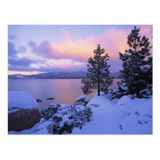 Cartão Postal EUA, Califórnia. Um dia de inverno em Lake Tahoe.