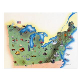 Cartão Postal EUA, estados do norte de América, mapa com