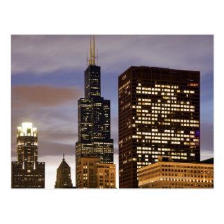 Cartão Postal EUA, Illinois, Chicago, arranha-céus iluminados