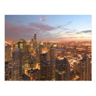 Cartão Postal EUA, Illinois, Chicago: Ideia da noite do laço