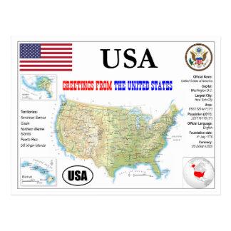 Cartão Postal EUA Map Postcard