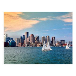 Cartão Postal EUA, Massachusetts. Skyline 3 do beira-rio de