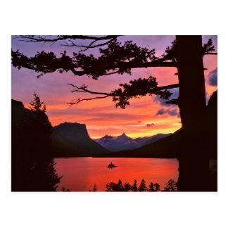 Cartão Postal EUA, Montana, parque nacional de geleira. Paisagem