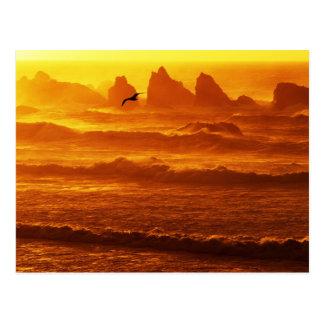 Cartão Postal EUA, Oregon, Bandon. Por do sol sobre ondas e mar