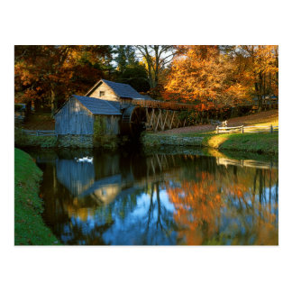 Cartão Postal EUA, Virgínia, Parkway azul de Ridge, moinho de