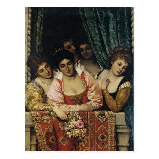 Cartão Postal Eugene de Blaas- Senhora em um balcão