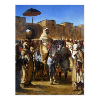 Cartão Postal Eugene Delacroix- a sultão de sair de Marrocos