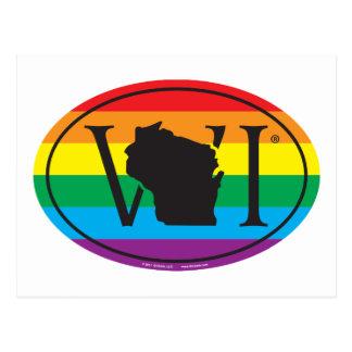 Cartão Postal Euro do orgulho do estado de LGBT: WI Wisconsin
