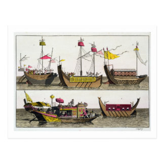 Cartão Postal Exemplos dos navios chineses, ilustração 'de Le C