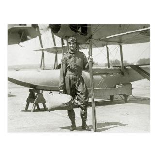 Cartão Postal Explorador Byrd e hidroavião: 1900s adiantados