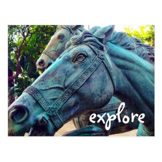 """Cartão Postal """"Explore"""" a foto asiática da estátua do cavalo de"""