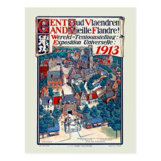 Cartão Postal Expo 1913 do mundo Ghent Flanders velho histórico