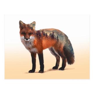 Cartão Postal Exposição dobro do Fox - arte da raposa - raposa