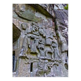 Cartão Postal Externsteine, cinzeladura de pedra