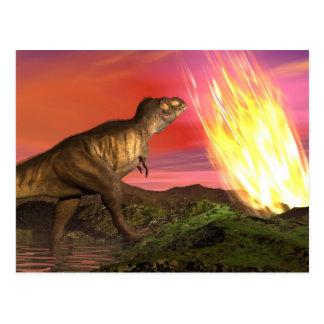 Cartão Postal Extinção dos dinossauros - 3D rendem