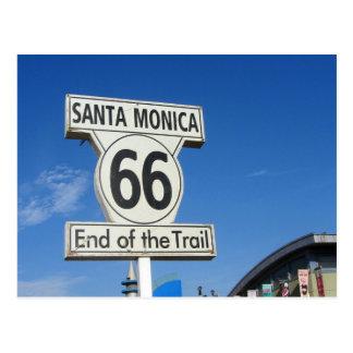 Cartão Postal Extremidade de Califórnia Santa Monica da rota 66