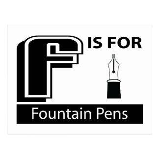Cartão Postal F é para canetas de fonte