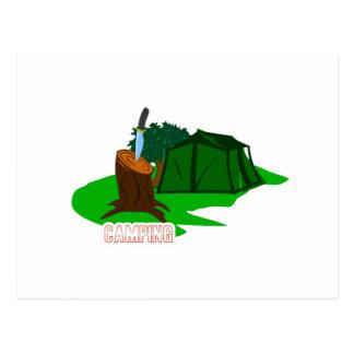 Cartão Postal Faca e barraca de acampamento