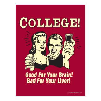 Cartão Postal Faculdade: Bom para o mau do cérebro para o fígado