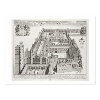 """Cartão Postal Faculdade nova, Oxford, de """"Oxonia Illustrata"""","""
