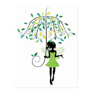 Cartão Postal Fada com guarda-chuva floral 2