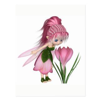 Cartão Postal Fada cor-de-rosa bonito do açafrão de Toon,