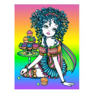 Cartão Postal Fada do arco-íris do Couture dos doces do bolo do