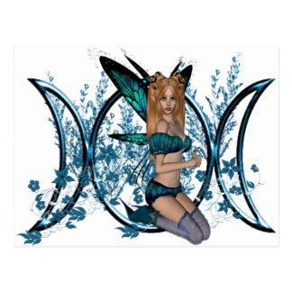 Cartão Postal Fada tripla azul do símbolo da deusa da lua