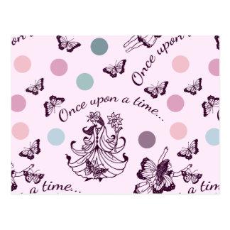 Cartão Postal Fadas cor-de-rosa, borboletas e bolinhas coloridas