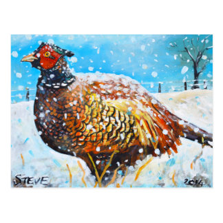 Cartão Postal Faisão na neve!