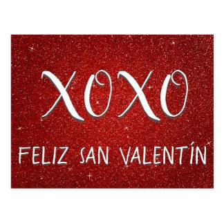 Cartão Postal Faísca vermelha e brilho de XOXO Feliz San