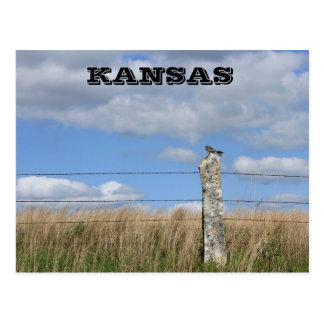 Cartão Postal Falcão de Kansas em um cargo da cerca da pedra de