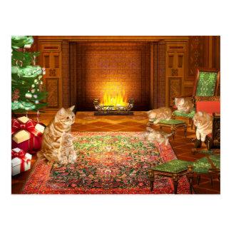 Cartão Postal Família alaranjada do Natal do gato de gato