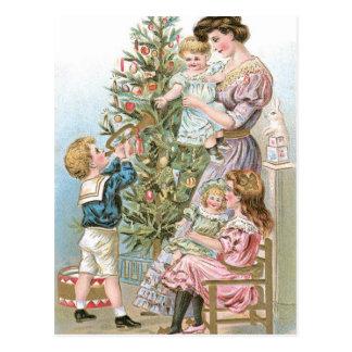 Cartão Postal Família com árvore de Natal