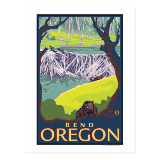 Cartão Postal Família do castor - curvatura, Oregon
