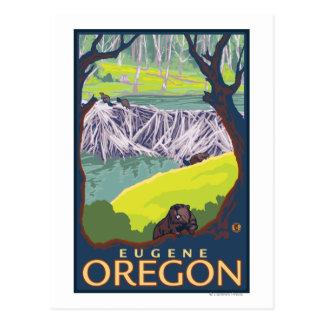 Cartão Postal Família do castor - Eugene, Oregon