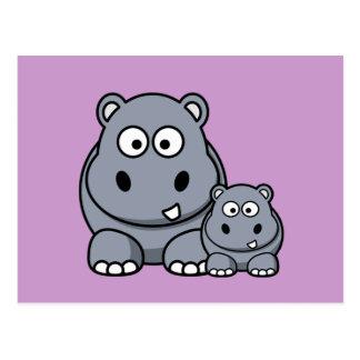 Cartão Postal Família do hipopótamo do bebê, safari selvagem