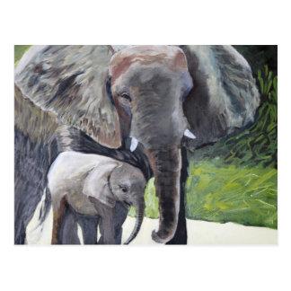 Cartão Postal Família dos elefantes
