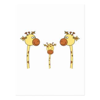 Cartão Postal Família dos girafas. Desenhos animados