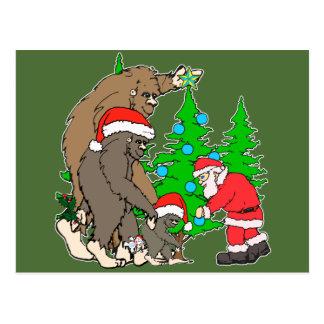 Cartão Postal Família e papai noel de Bigfoot
